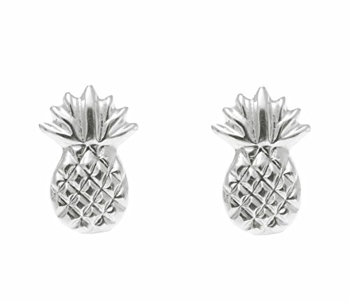 14K solid white gold Hawaiian 7mm pineapple stud post earrings