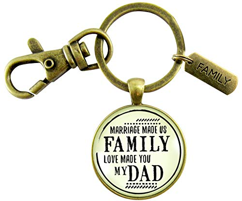 Bonus Dad Keychain Marriage Made Us Family Love Vintage Inspired Mens Key Ring Wedding Jewelry Gift For Him