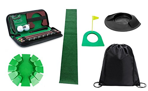 Posma PHS005 Plastic Practice Putting Cup Golf Hole Training Aid Indoor/Outdoor Bundle set with 3 kinds of Plastic Putting cup + 1 set of Detachable putter