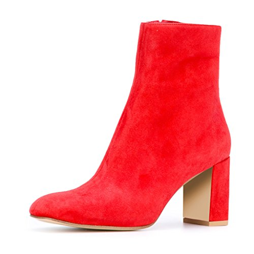 Heel Suede Booties Block Women Round Zipper XYD Red Ankle Comfortable Soft Boots Toe 8wxqT4p