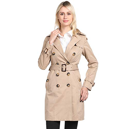 - ForeMode Women's Double Breasted Mid-Length Trench Coat Classic Overcoat(Beige Khaki,L)