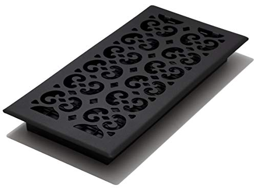 Decor Grates STH614 Scroll Text Floor Register, 6-Inch by 14-Inch, Black ()