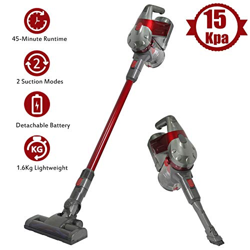SU-VAC Cordless Vacuum Cleaner 2 Speed Suction Power,200W Brushless Motor with 15 Kpa Powerful Suction, Lightweight Bagless Upright Stick Vacuum, 2200mAh Rechargeable Battery and Wall Mount
