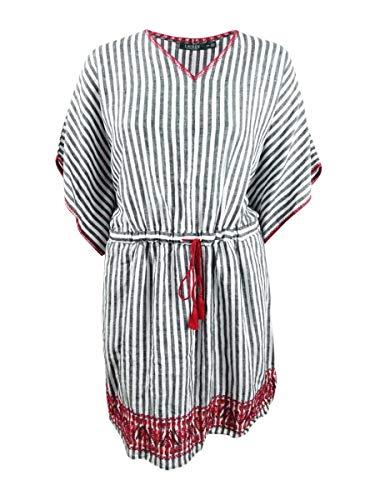 (Lauren by Ralph Lauren Women's Plus Size V-Neck Linen Dress (18W, Black Multi))