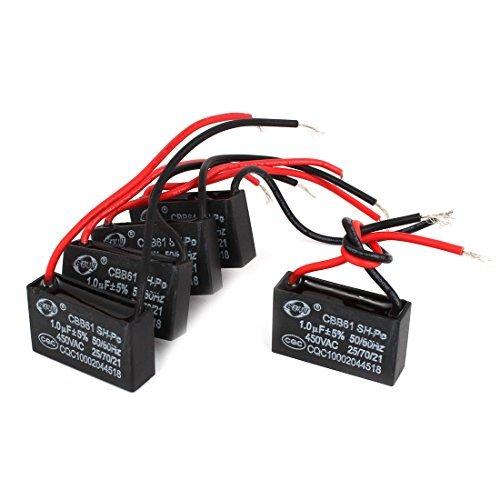 Deal Mux a14101600ux0992/Lot de 5/CBB61/1uF 5/% rectangulaire Dual Wire moteur Running condensateur 450/V AC
