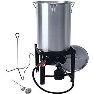 Bayou Classic 32 Quart Stainless Steel Pot Outdoor Turkey Fish Deep Fryer Kit-LA BOVA