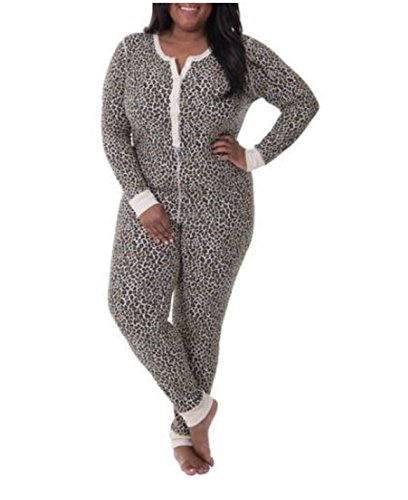 Fruit of the Loom Women's Plus Size Fit for Me Waffle Thermal Union Suit, Natural Animal Print, 2X ()