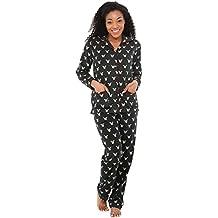 Alexander Del Rossa Womens Solids and Prints Fleece Pajamas, Long Button Down Pj Set