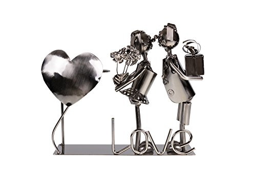 Cute Couple Kissing Wine Bottle Holder by Clever Creations | Premium Metal Design Easily Fits Any Standard Wine Bottle | Wide Stable Base | Stainless Steel by Clever Creations