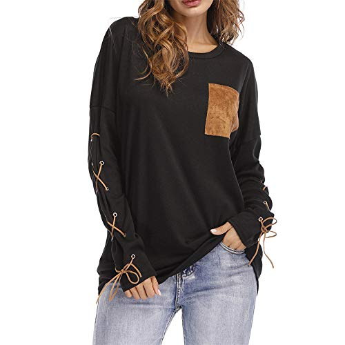 Aniywn 2019 New Long Sleeve, Women Casual Strappy Long Sleeve Daily Loose Sweatshirts Solid Tops with Pocket Black (Best Travel Shaver 2019)