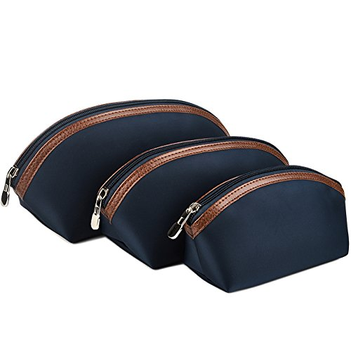 Cosmetic Bag Set of 3,Portable Makeup Bag Pouch,Travel Toiletry Bag for Women Blue