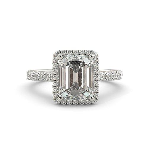 Emerald Cut Diamond Ring Settings (Emerald Cut Charles & Colvard Forever One Moissanite & Round Natural Diamond Engagement Ring 14k White Rose Yellow Gold 3.20 dwt)