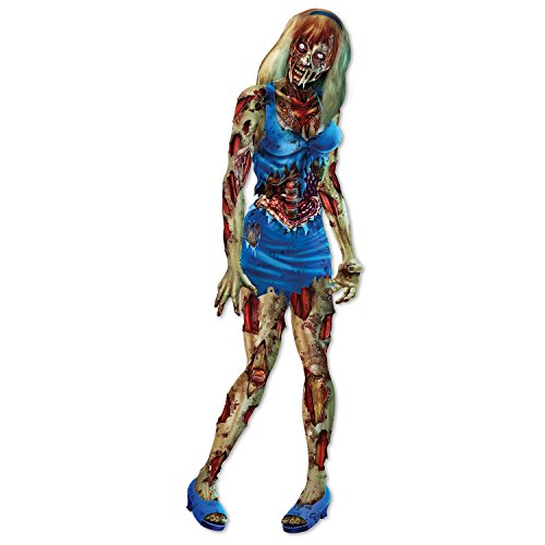 Zombie Decoration (Beistle Jointed Zombie Girl, 6', Multicolor)