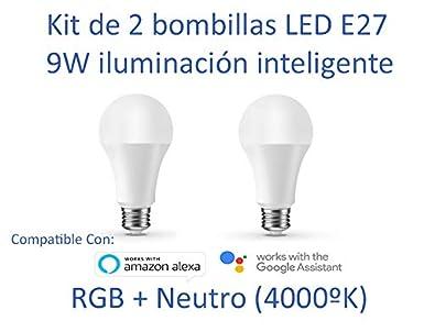 Kit de 2 bombillas inteligentes LED WIFI E27 9W, 16 millones de colores, compatible
