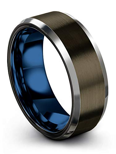 (Chroma Color Collection Tungsten Carbide Wedding Band Ring 8mm for Men Women Blue Interior with Gunmetal Exterior Beveled Edge Brushed Polished Comfort Fit Anniversary Size 10.5)