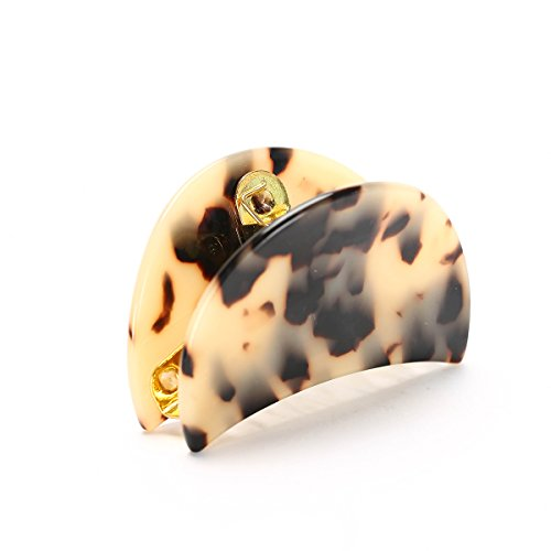 WeWe Faux Tortoise Shell Jaw Clip Leopard Animal Print Hair Pin Preppy Claw Elegant Classic Hair Jewels Urban Mod Trendy Gift For Her (Beige)
