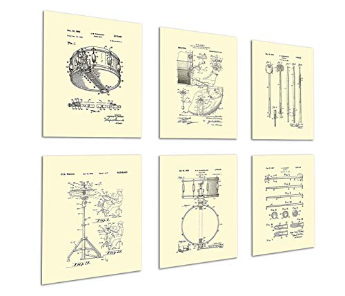 Gnosis Picture Archive Drum Posters Set of 6 Unframed Patent Art Gift for Drummer Wall Decor Drumming_Crm6A ()