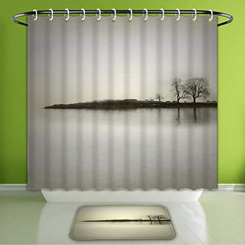Waterproof Shower Curtain and Bath Rug Set Apartment Decor Landscape in Shady Tones with Isolated Trees Over Island Calm Fog Blurry Enviro Bath Curtain and Doormat Suit for Bathroom 66