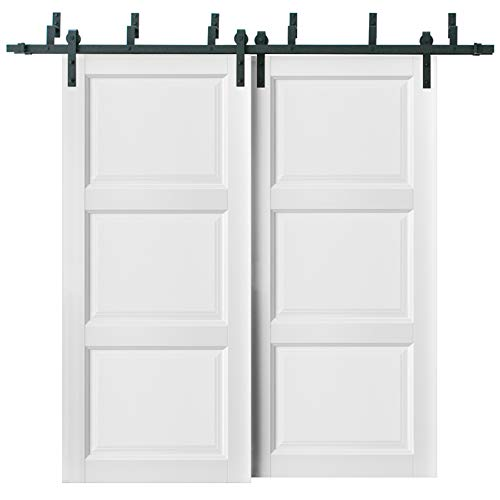 Sliding Closet Barn Bypass Doors 72 x 84 inches | Lucia 2661 Matte White | Sturdy Top Mount 6.6ft Rails Hardware Set…