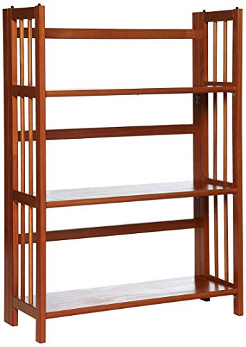Mission Folding Bookcase - Yu Shan 3 Shelf Folding Stackable Bookcase, Honey Oak