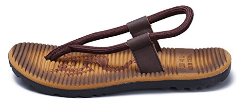 SHOWHOW Men's Daily Sandals - Split Toe Elastic Slip On - Seaside Shoes Khaki 10 D(M) US by SHOWHOW (Image #1)
