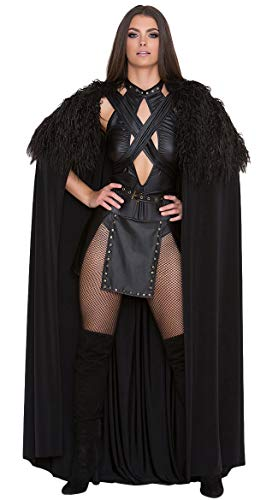 Yandy Sexy Northern Medieval Halloween Warrior Queen Cosplay Costume Black Med]()