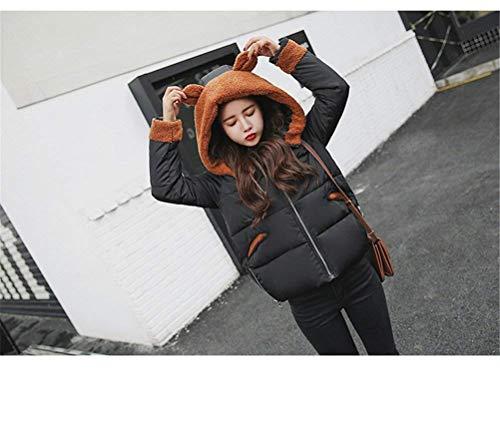 Piumini Tasche Manica Donna Anteriori Outwear Giubbino Caldo Di Cerniera Especial Giacca Stile Schwarz Con Cappuccio Invernali Lunga Estilo Dolce Moda PRYzRr8F