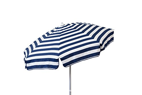 Heininger 1306 DestinationGear Italian Stripe Blue and White 7.5 ft Patio Umbrella