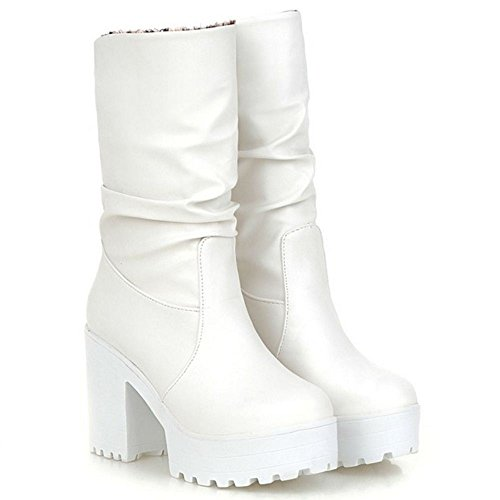 Chunky Pull Women COOLCEPT On Boots Sole White Fwgxpqzv