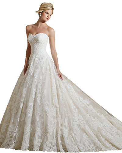 Angel Formal Dresses Women'A-Line Strapless Beaded Appliques Court Train Lace Wedding Dresses(12,White)