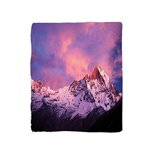 VROSELV Custom Blanket Modern Snowy Machapuchare Mountain Peaks in Winter North Central Nepal Scene Art Soft Fleece Throw Blanket Purple Brown