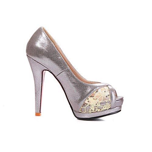 AllhqFashion Peep Stilettos On Solid Materials Spikes Blend Women's Sandals Toe Silver Pull 8qr48