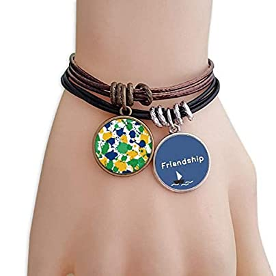 YMNW Printing Brazil Cultural Element Friendship Bracelet Leather Rope Wristband Couple Set Estimated Price -