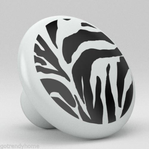 (Zebra Pattern Ceramic Knobs Pull Door Closet Handle Cabinet Drawer 1917 Kitchen)