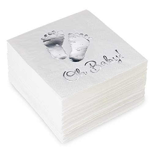 Burnished Silver OH BABY Metallic Foil-Stamped Feet Beverage Napkins, 5x5 Inch, pack of 50, 3-Ply - Gender Reveal - Baby Shower - Homecoming Party Décor ()