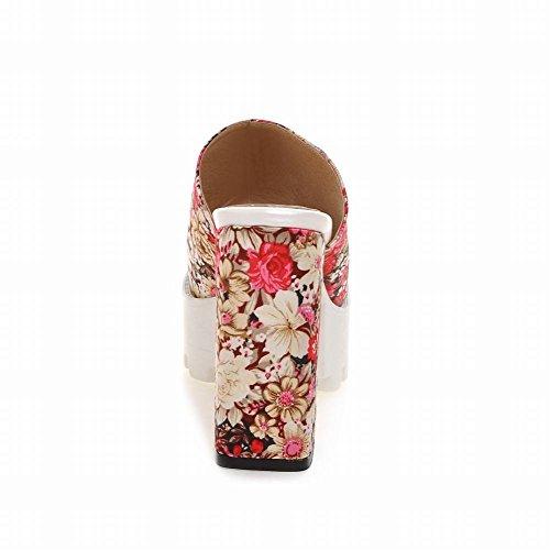 Carolbar Womens Floreale Retrò Moda Open Toe Piattaforma Fascino Grosso Tacco Alto Sandali Sandali Vestito Rosso