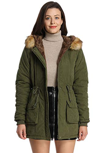 iLoveSIA Womens Hooded Coat Faux Fur Lined Jacket Army Green 14 ()