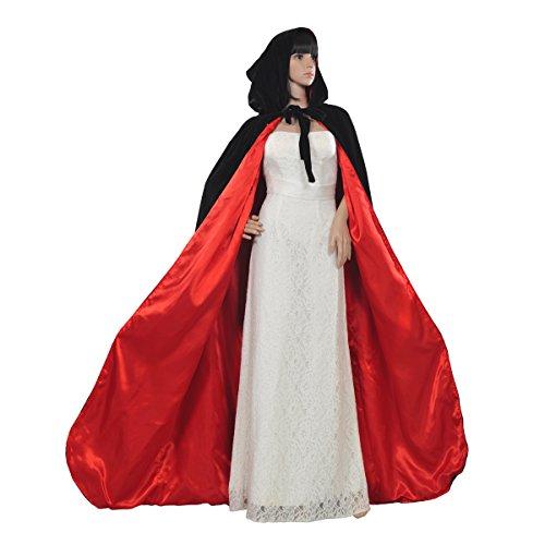 AW Gothic/Medieval Hooded Cloak Long Velvet Cape Wedding