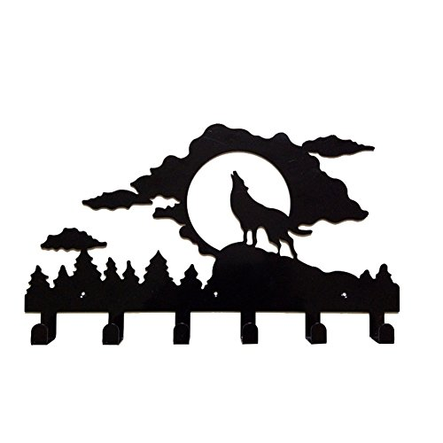 (Whthteey 6 Hooks Wall Mounted Clothes Bag Hangers Creative Decorative Coat Rack (Wolf))