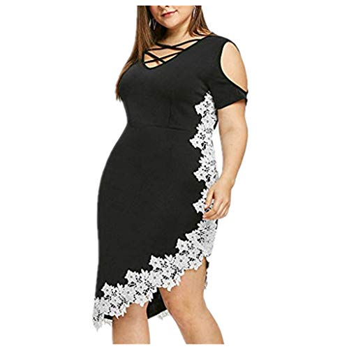 Women's Plus Size Dress Crisscross V Neck Cold Shoulder Irregular Hem Lace Patchwork Trim Dress Black ()
