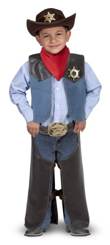 Melissa & Doug Cowboy Role Play Costume Set (5 pcs) - Includes Faux Leather Chaps (Make Believe Fancy Dress)