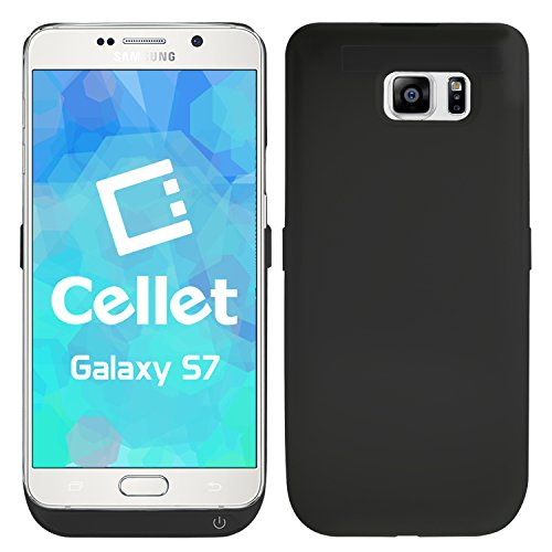 Cellet Galaxy S7 Charger Case, Rechargeable External Backup Power Battery Case for Samsung Galaxy S7 - Black