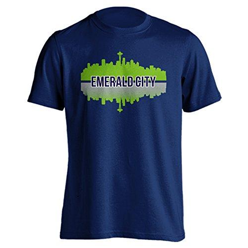 Seattle Emerald City Skyline Sports Adult Short Sleeve T-Shirt (3XL, Navy2)