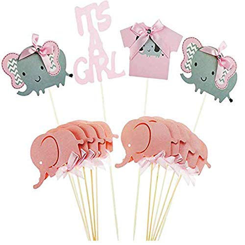 (Jinhuamike Baby Elephant Cupcake Toppers Picks for It is A Girl Baby Shower Birthday Party Decorations Supplies Set of 14pcs )