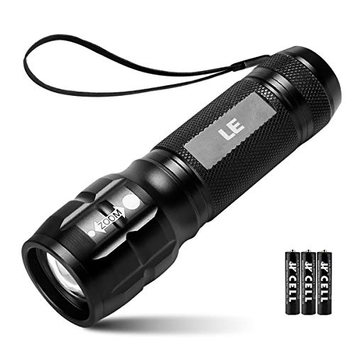 LE CREE LED Flashlight, Small and Super Bright LED Tactical Torch, Handheld Flash Light, Zoomable, Water Resistant, Adjustable Brightness for Camping, Running, AAA Batteries Included -