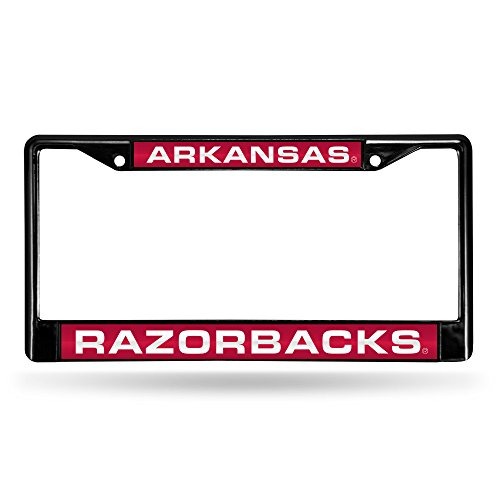Arkansas Razorbacks Laser Cut Inlaid Standard Chrome License Plate Frame, 6
