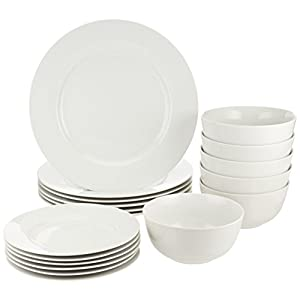 AmazonBasics 18-Pieces Dinnerware Set, White