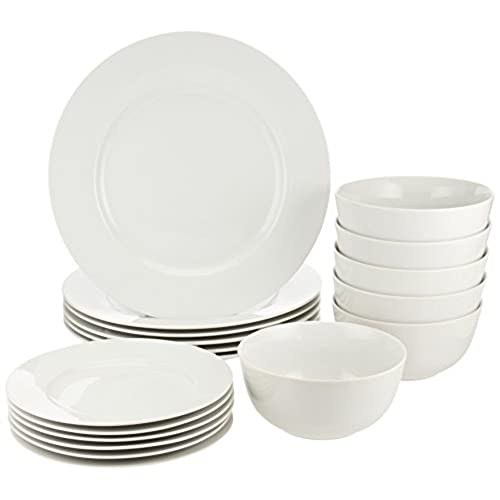 AmazonBasics 18-Piece Dinnerware Set Service for 6  sc 1 st  Amazon.com & Plate and Bowl: Amazon.com