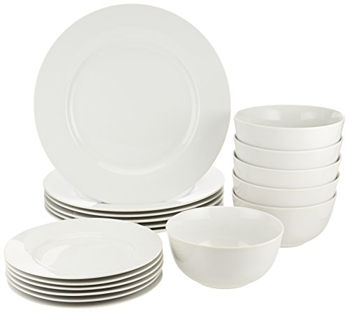 AmazonBasics 18-Piece White Kitchen Dinnerware Set, Dishes, Bowls, Service for 6