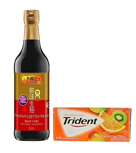 Lee Kum Kee Soy Soy Sauce - Lee Kum Kee Premium Soy Sauce, 16.9-Ounce Bottle (Pack of 1)plus a Free Gift Trident Gum, Tropical Twist Flavor In Frustration Free Packaging …